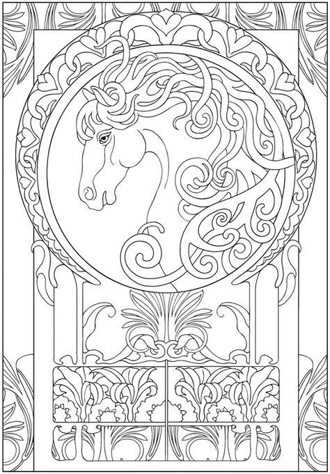Лошадь в полумесяце Раскраски антистресс бесплатно