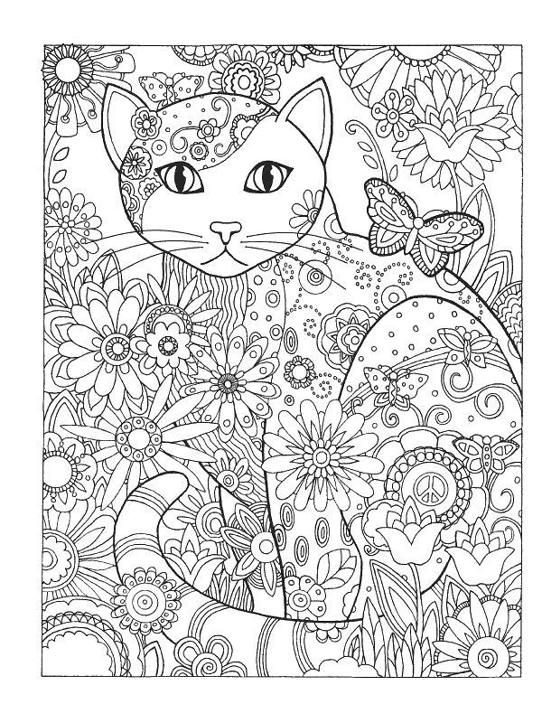 Кошечка среди цветов Раскраски антистресс бесплатно
