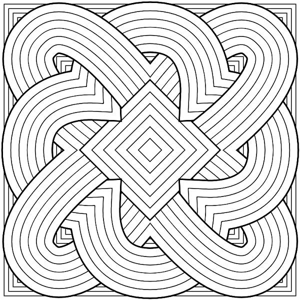 Узоры из геометрических фигур симметричные Раскраски для ...