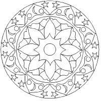 Узоры из звезд с цветами Скачать сложные раскраски