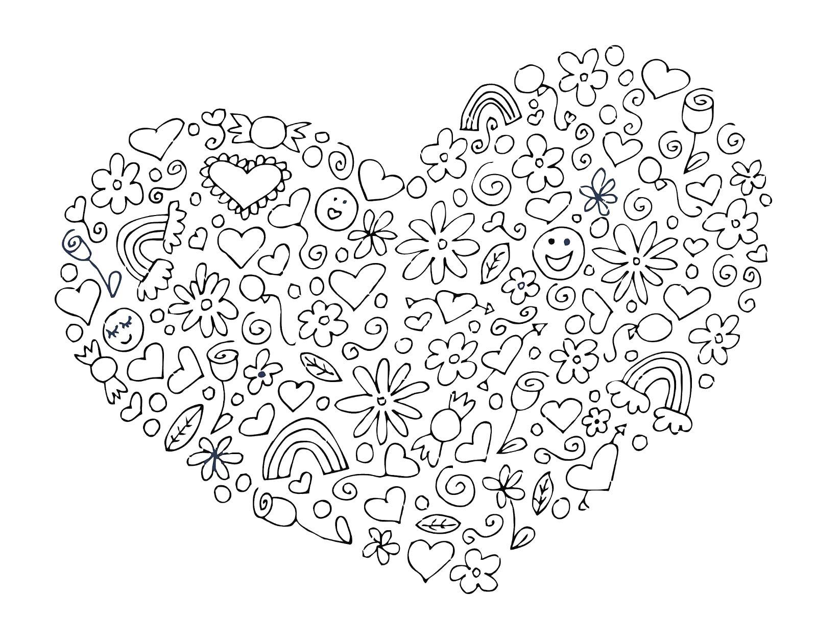 Сложная раскраска для детей с сердечками и смайлами Раскраски для взрослых скачать