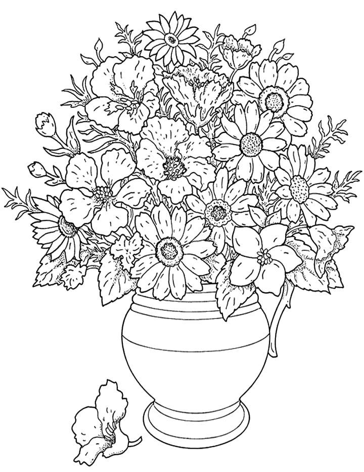 Цветы в вазе Раскраски для взрослых скачать