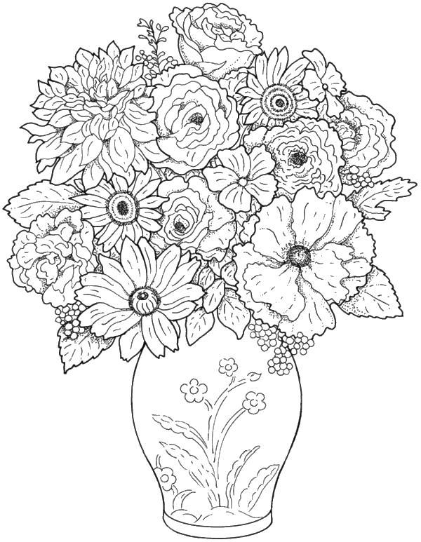 Ваза с узорами и с цветами Скачать сложные раскраски