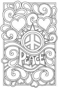 Мирная раскраска с узором из сердечек Раскраски для взрослых скачать