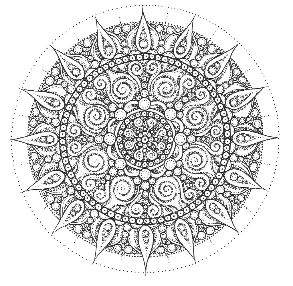 Сложные узоры в круге Раскраски для взрослых скачать