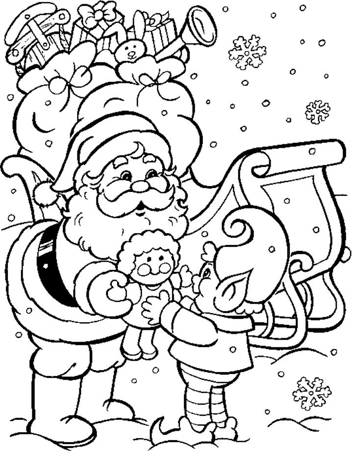 Дед мороз дарит подарки Скачать сложные раскраски