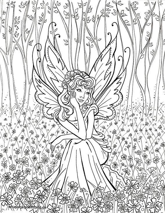 Фея в лесу среди цветов и деревьев Раскраски для взрослых скачать
