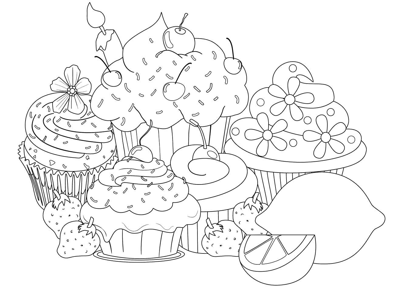 Кексы торты лимон и клубника еда сладости фрукты лимон ...