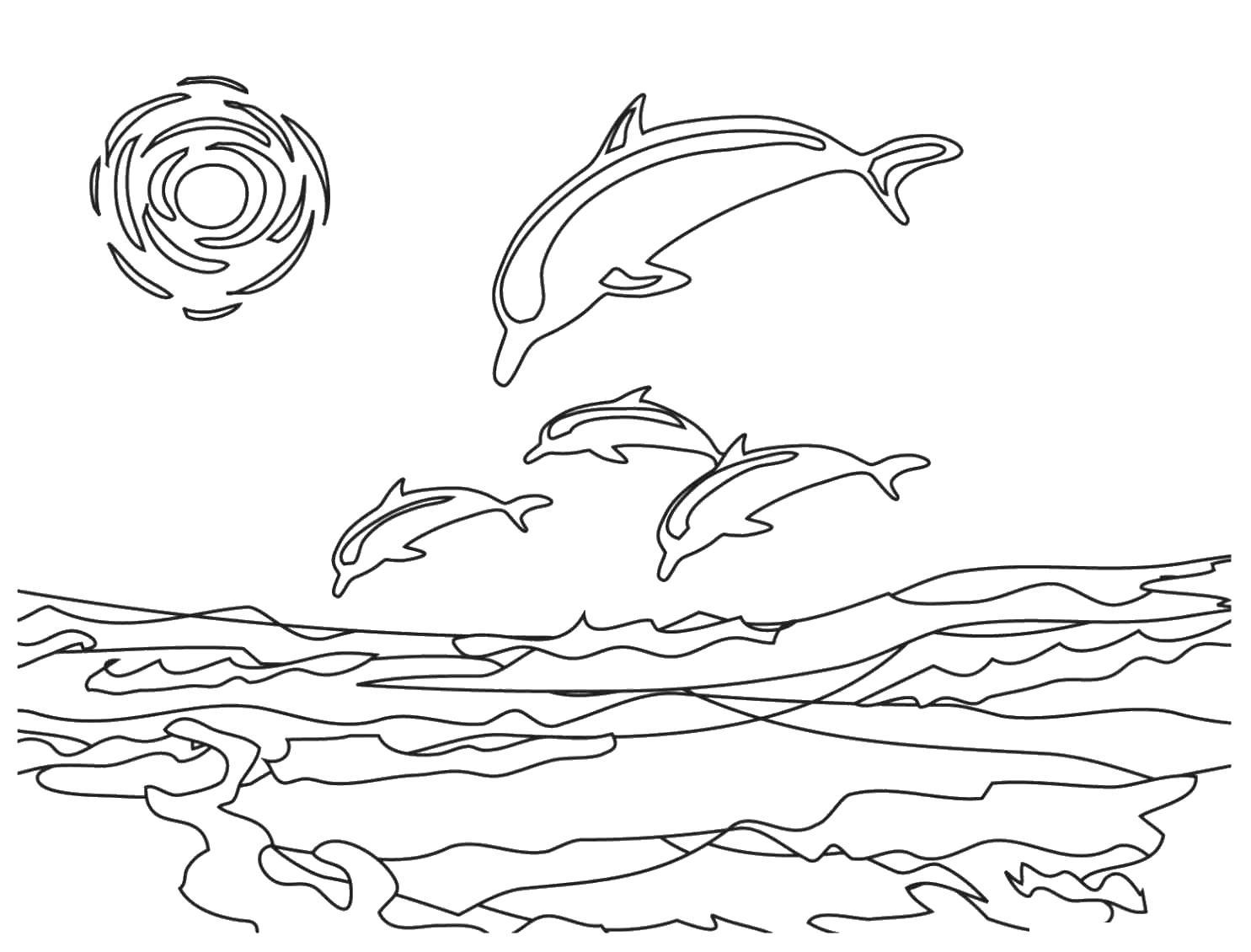 Дельфины в море Раскраски антистресс а4