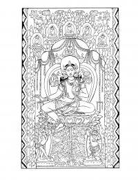 Индийское божество Раскраски антистресс распечатать