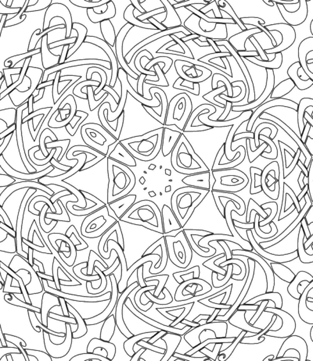 Сложный узор в центре цветок Раскраски антистресс распечатать