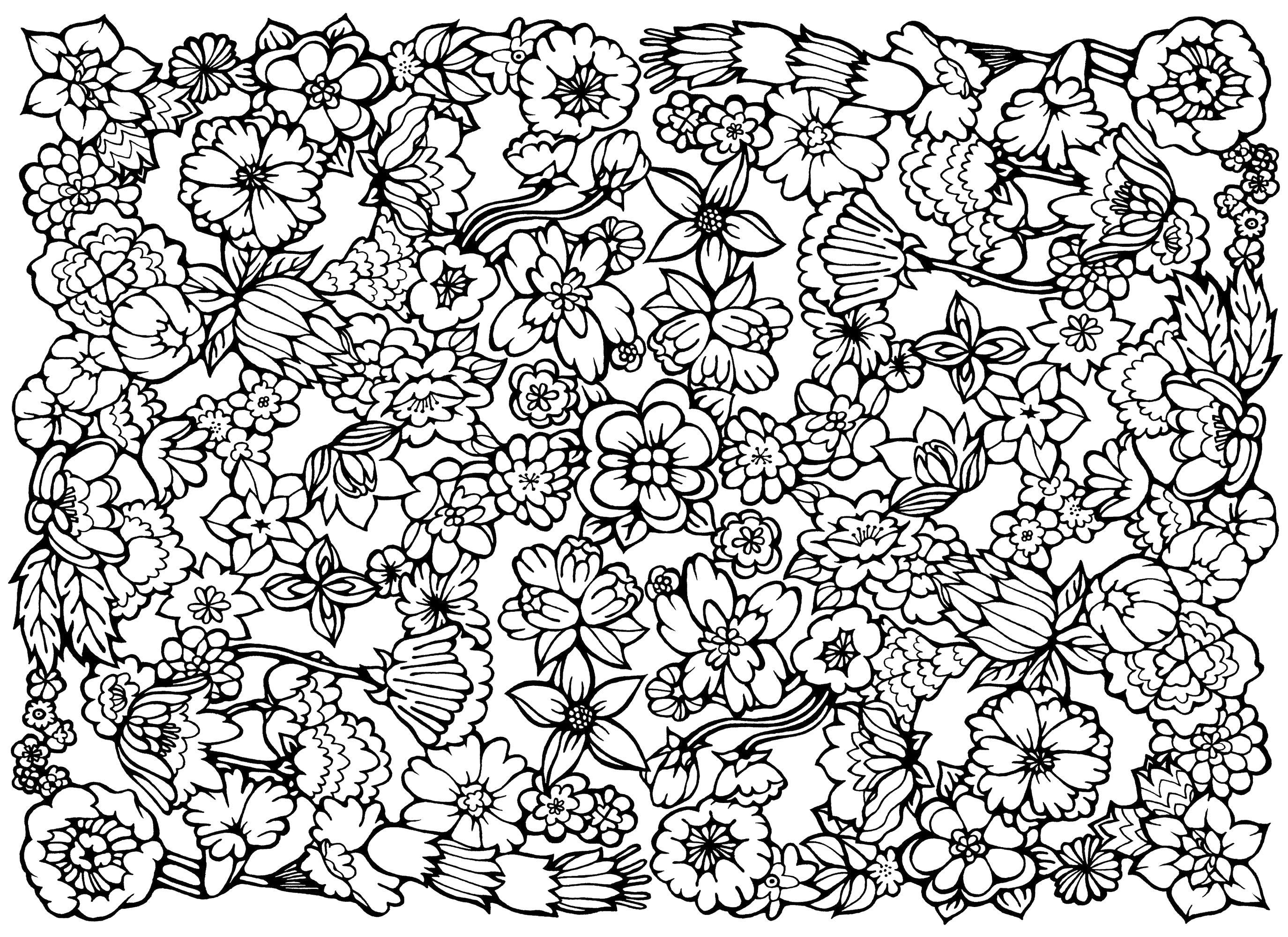 Узор из цветов Раскраски для взрослых скачать