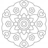 Узор для детей с сердечками и цветами Раскраски антистресс фото