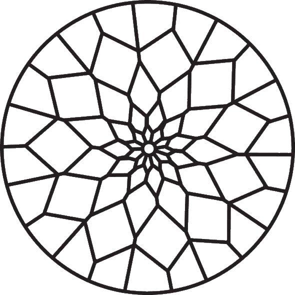 Узор в круге из геометрических фигур Раскраски антистресс фото