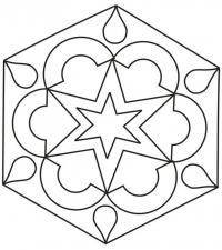 Простой узор со звездой в пятиугольнике Раскраски антистресс фото