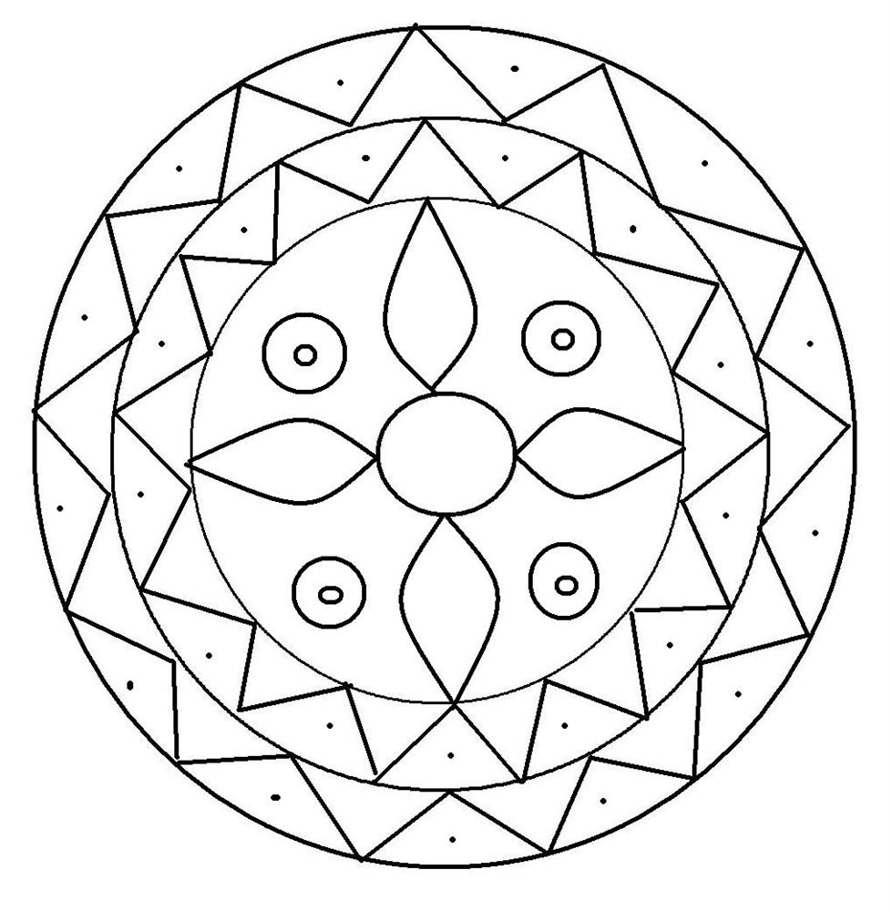 Треугольники по кругу узор Раскраски антистресс фото