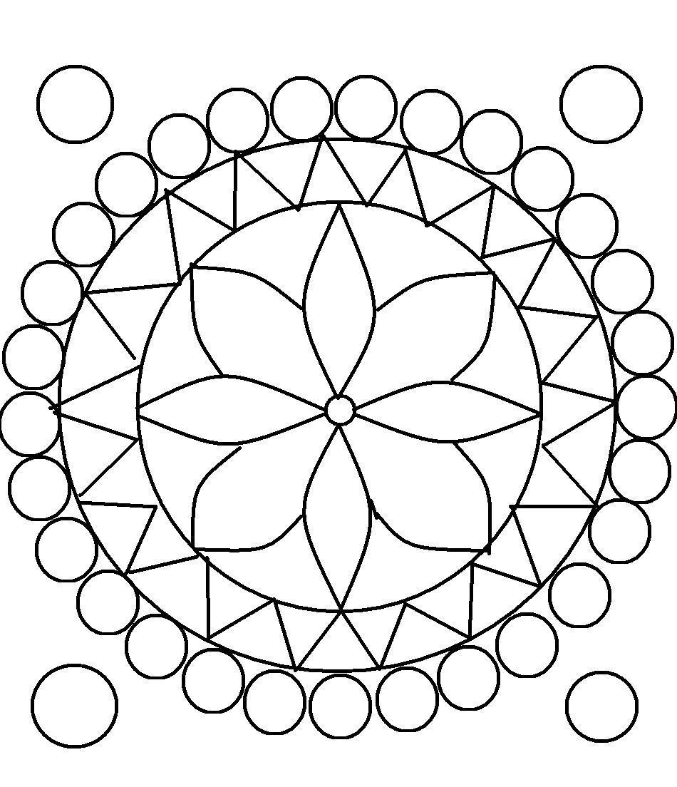 Круги и треугольники а в центре цветок Раскраски антистресс в хорошем качестве