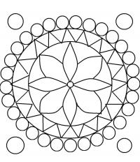 Круги и треугольники а в центре цветок Раскраски антистресс фото