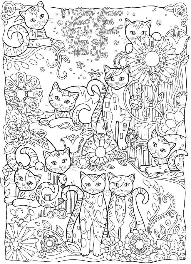 Кошки среди цветов Раскраски антистресс бесплатно