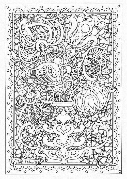 Сложный цветочный узор Скачать сложные раскраски