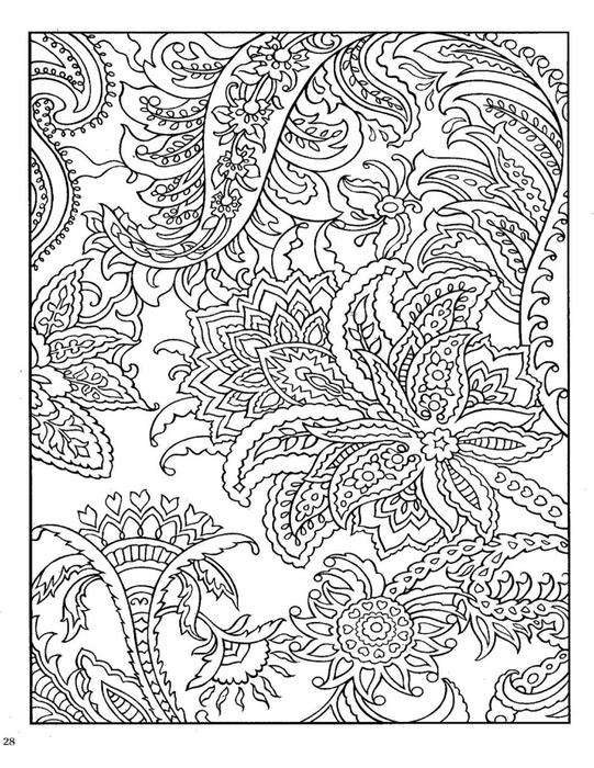 Цветы и папортник Скачать сложные раскраски