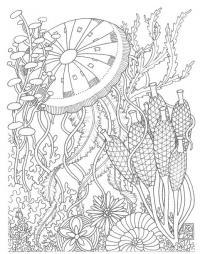 Цветы с зонтиками Скачать сложные раскраски