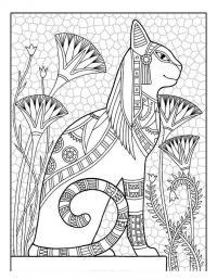 Египетская кошка Раскраски антистресс бесплатно