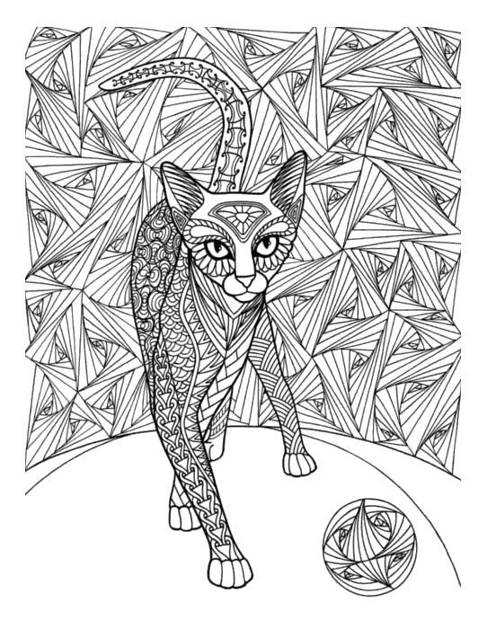 Хищная кошка которая гуляет сама по себе с клубочком Раскраски антистресс бесплатно