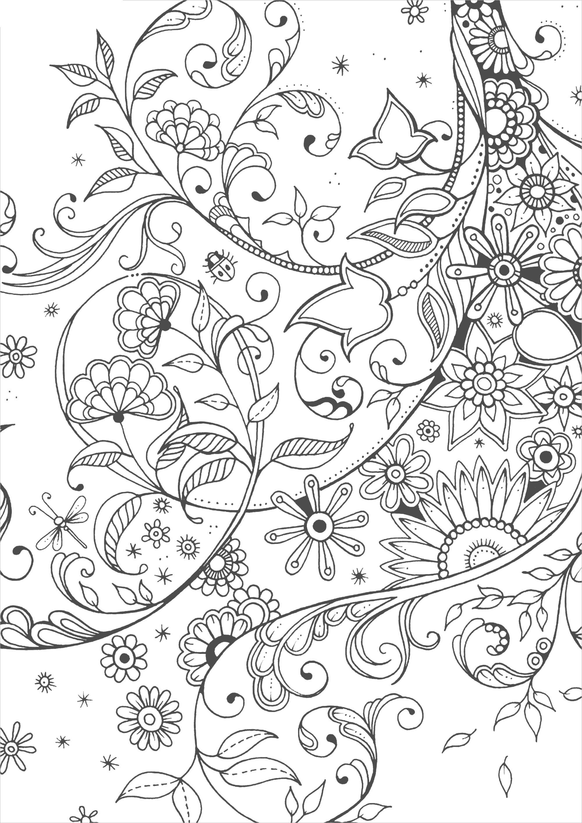 Цветы и листья Скачать сложные раскраски