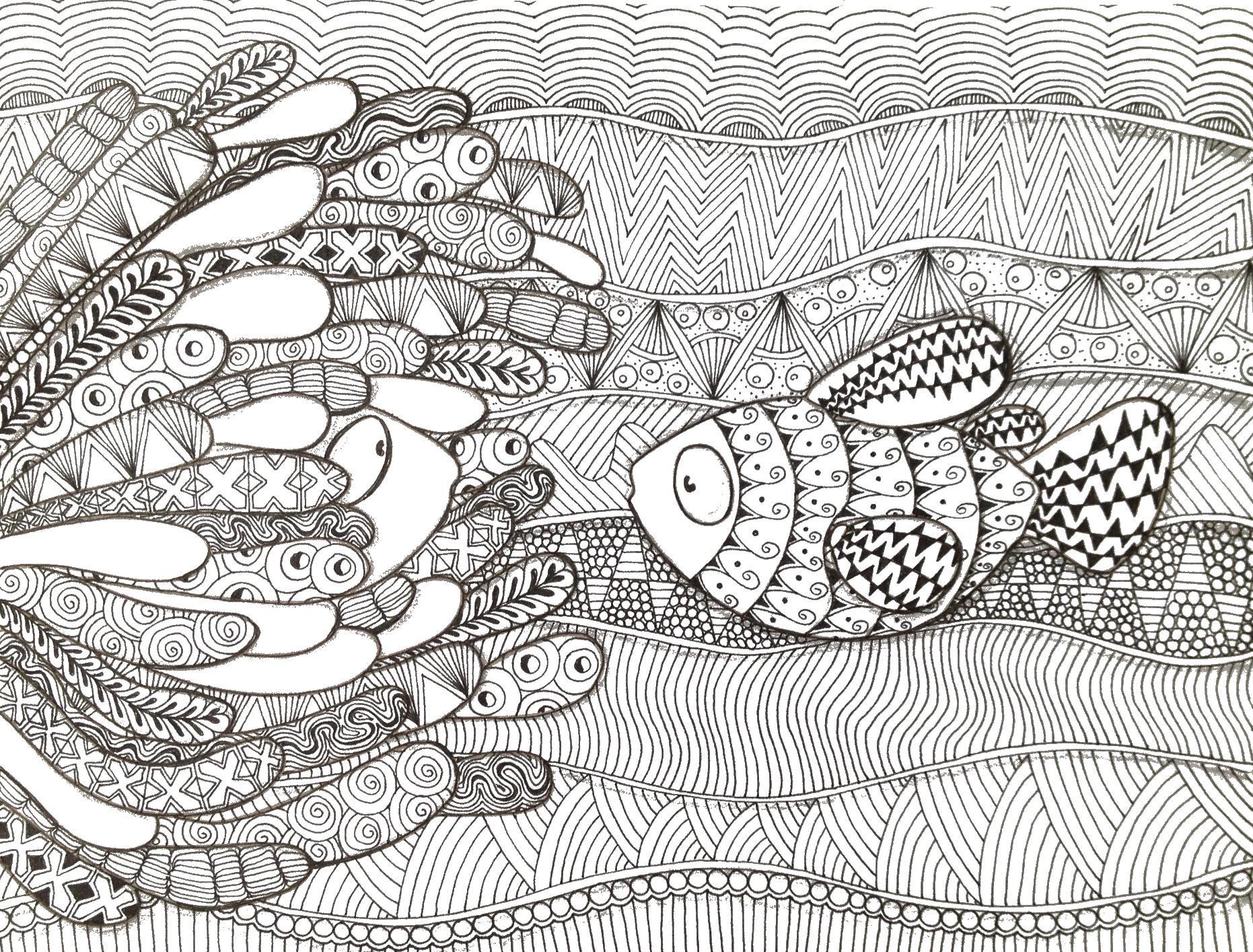 Рыбки в море, аодоросли Онлайн раскраски в хорошем ...