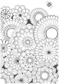 Узоры из цветов с пчелкой Скачать сложные раскраски