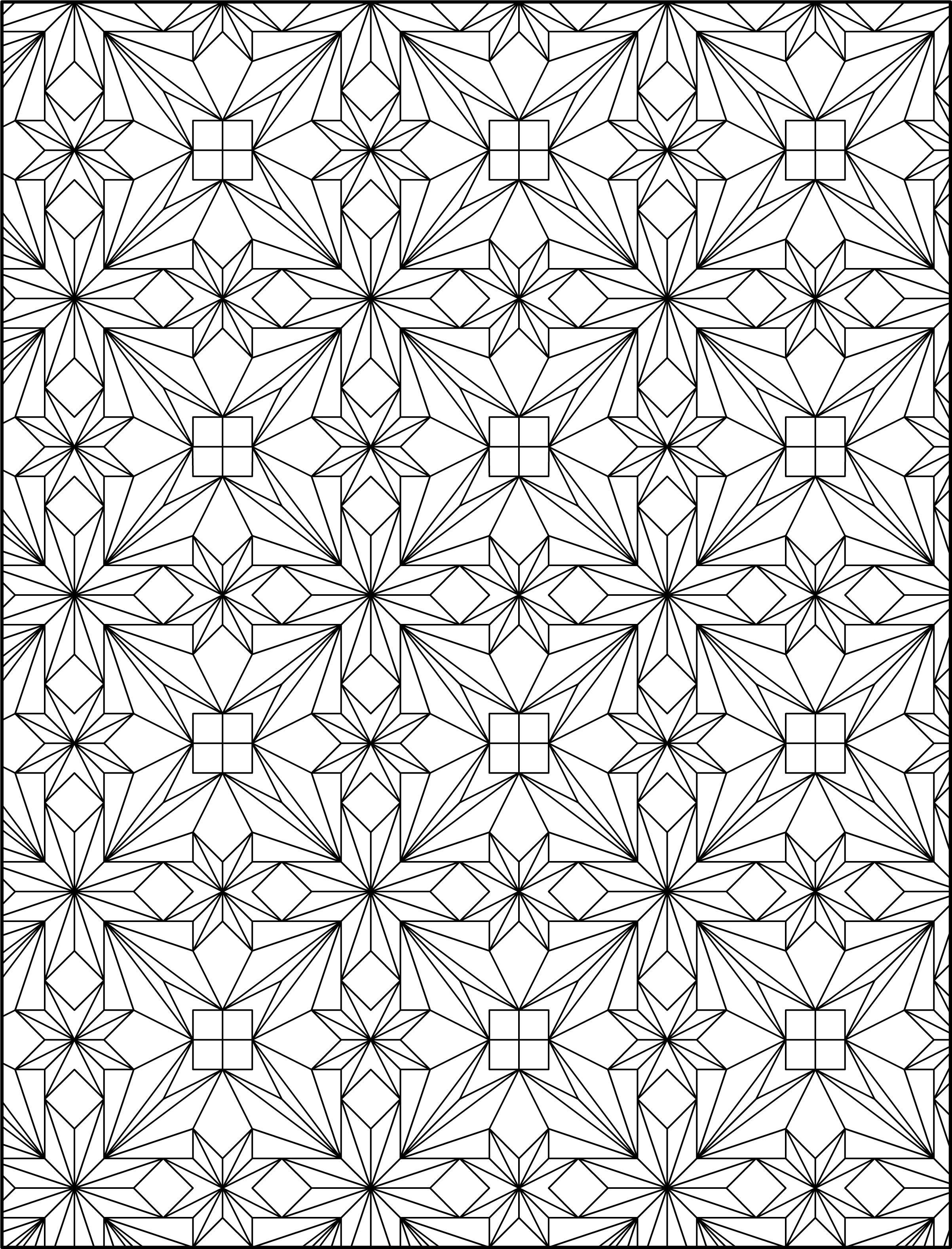 Геометрические узоры в виде цветов Скачать сложные раскраски