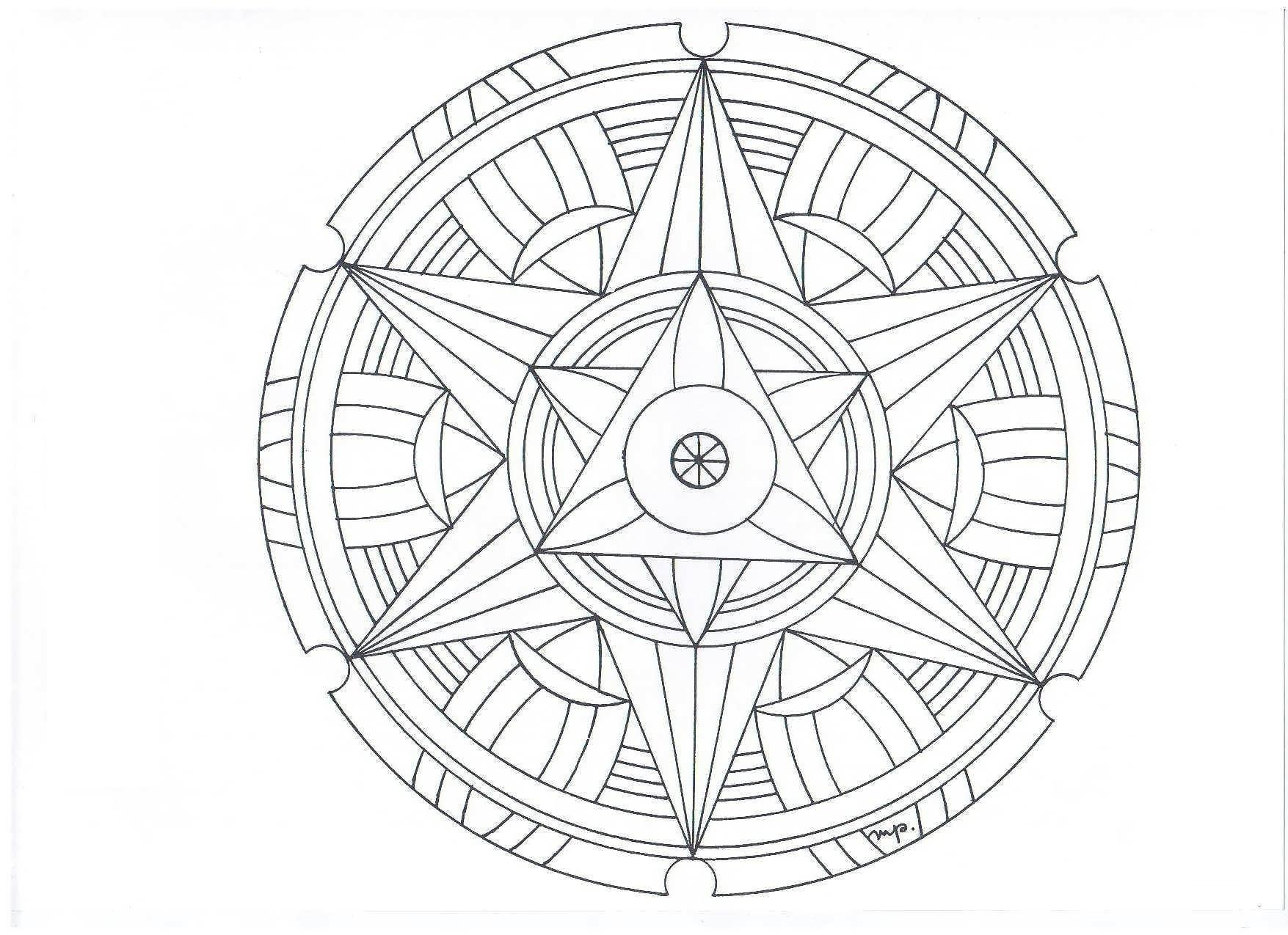 Сложные узоры со звездой в центре, в круге Картинки антистресс раскраски