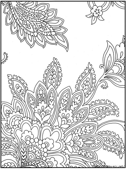 Цветочные узоры с листьями Скачать сложные раскраски