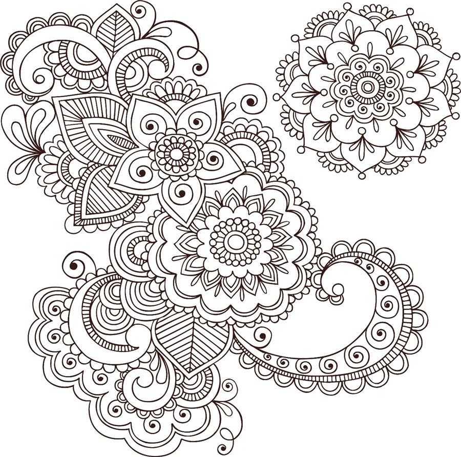 Ажурные цветы и листья Скачать сложные раскраски