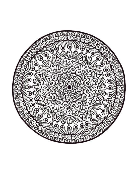 Цветочная композиция в круге Раскраски для взрослых антистресс