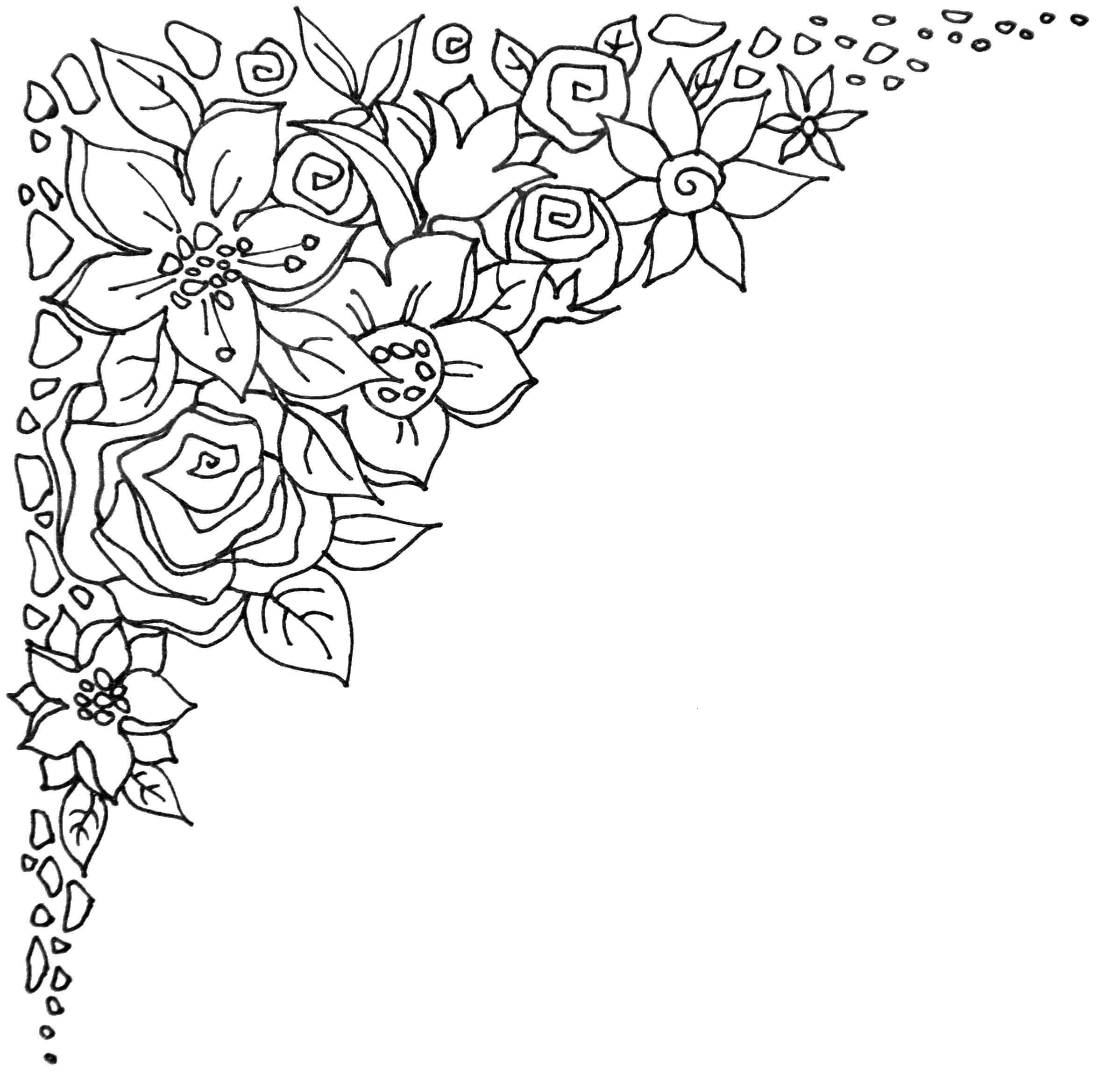 Цветочная рамка на уголок Раскраски антистресс в хорошем качестве