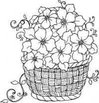 Корзина с вьющимися цветами Раскраски для взрослых скачать