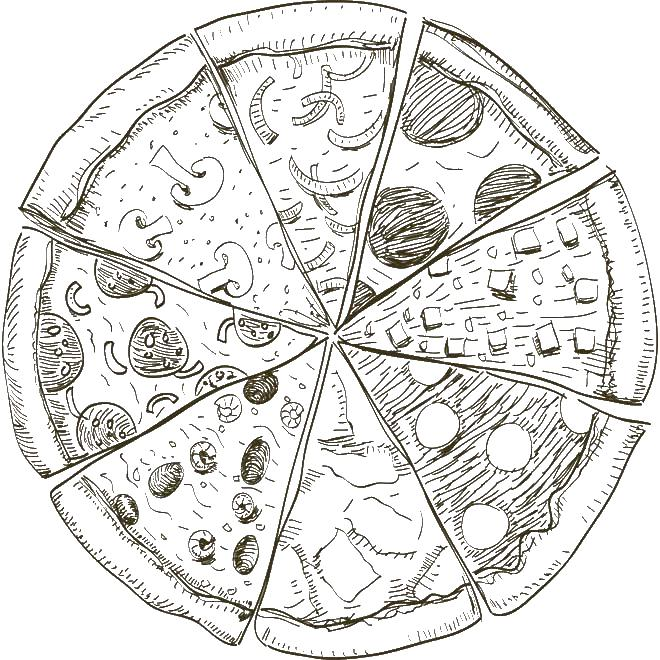 Пицца Раскраски для снятия стресса
