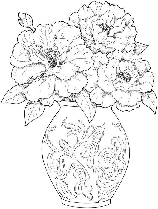 Ваза с узором, ваза с большими цветами Раскраски для взрослых скачать