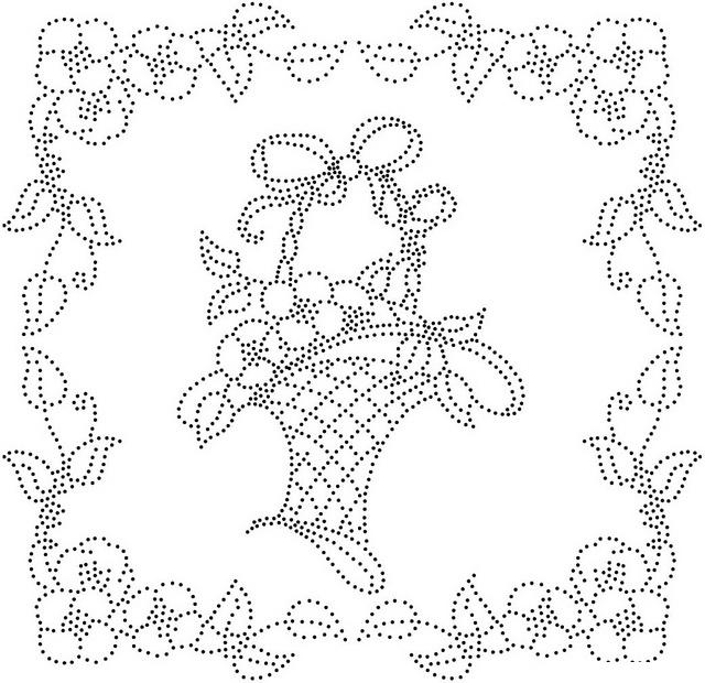 Корзина с цветами в цветочной рамке по точкам Раскраски для взрослых скачать