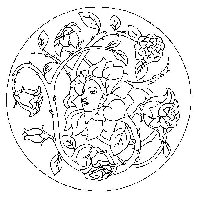 Цветок с лицом девушки, роза с шипами в круге Антистрессовые раскраски