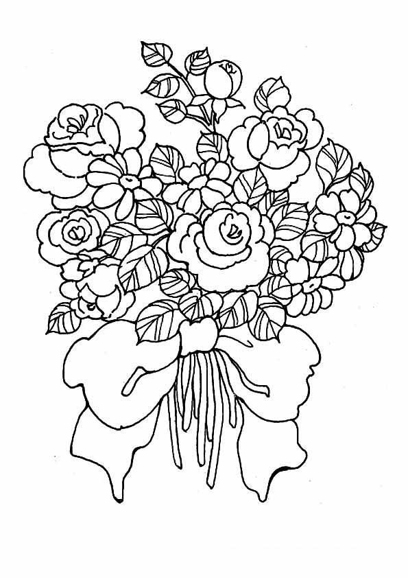 Цветы повязанные большим бантом Раскраски для взрослых скачать
