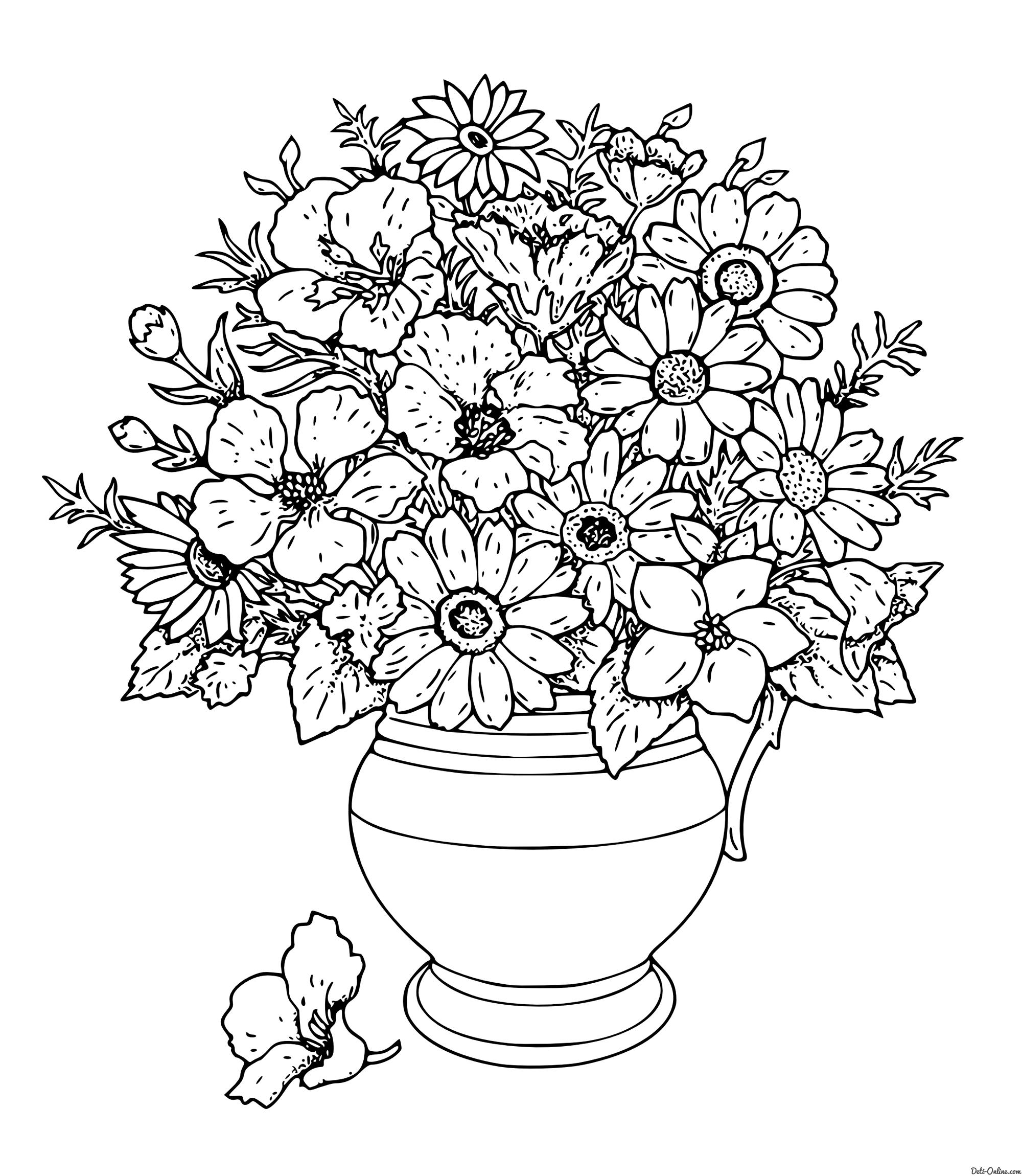 Цветы в вазе, цветок возле вазы Раскраски антистресс в хорошем качестве