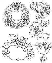 Бабочки, цветы, ягоды, яблоко Раскраски для взрослых скачать