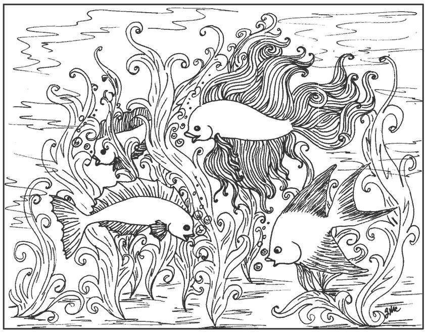 Рыбки в океане Раскраски для снятия стресса