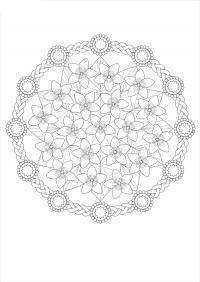 Цветы в плетеном круге Раскраски для взрослых антистресс
