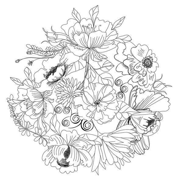 Красивые цветы Раскраски антистресс в хорошем качестве