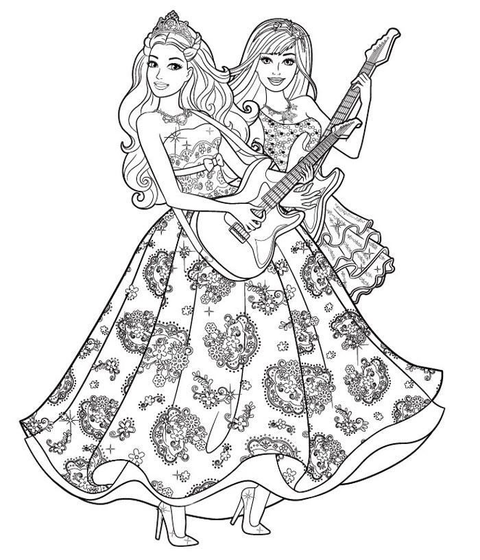 Девушки с гитарами в красивых платьях Раскраски антистресс в хорошем качестве