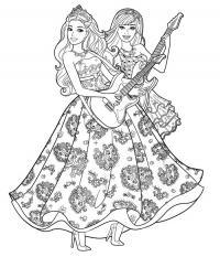 Девушки с гитарами в красивых платьях Раскраски для снятия стресса